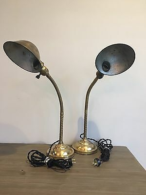 Matching Pair Faries Brass Table Lamps Rewired Marked Shades Vintage 1920s