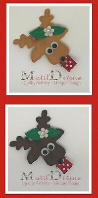 Baby Girl Toddler Non Slip Hair Clip Bow 4.5cm Alligator Christmas Reindeer x 1