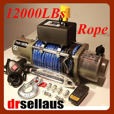 12V 12000LBS Synthetic Rope Electric Winch Wireless Remote ATV 4WD Boat Truck