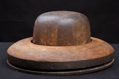 Antique Millinery Wood Hat Form Mold 5 3/4 - 6 3/4 #518