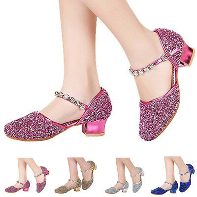 Fashion Toddler Kids Girls Glitter Sequins Party Shoes Mid Heels Dress Shoes Hot