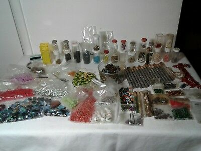 Big lot Vintage Antique Glass Seed Beads old turquoise coral silver loose string