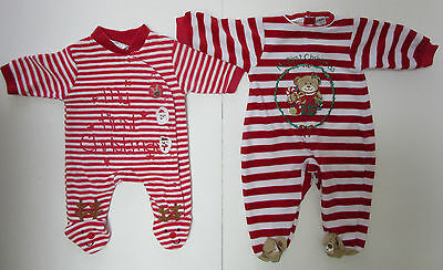 Lot of Two My First Christmas 0-3 Months Footed Sleepers Bodysuits Baby Boy Girl