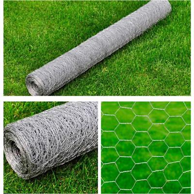 1x25M Chicken Wire Pet Mesh Fence Coop Aviary Hutches Galvanised Hexagon C2Z8