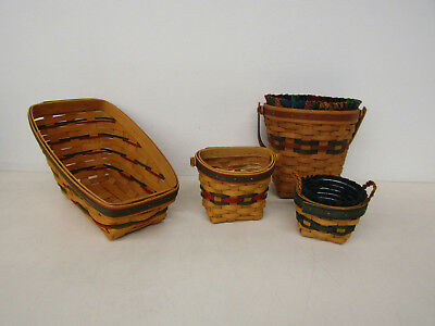 Longaberger Lot of 4 Baskets Angled Semicircle Round Cloth & Plastic Liners