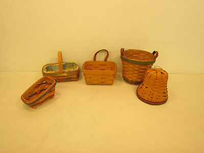 Longaberger Basket Lot of 5 Small to Medium Baskets Round Rectangle Green Red