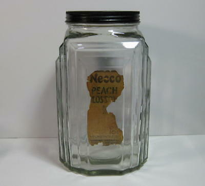 Vintage Necco Peach Blossoms Candies Candy Advertising Jar