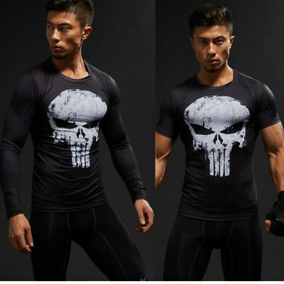 542fe4ac89871a Punisher Skull T-shirt Men Compression Shirts Long Short Sleeve Gym Cosplay  Tops