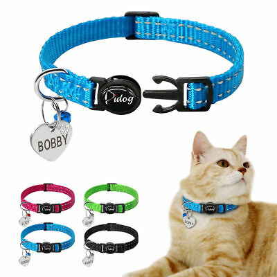 Breakaway Personalised Dog Cat Collars&ID Tag Reflective for Small Kitten XXS XS