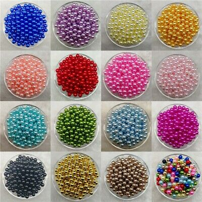4 / 6 / 8 /10mm No Hole Beads Acrylic Round Pearl Loose Beads DIY JND