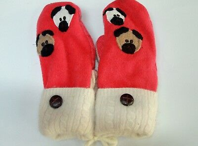 Handmade Wool-Cashmere Mittens w Pug Faces-Fleece lined for softness