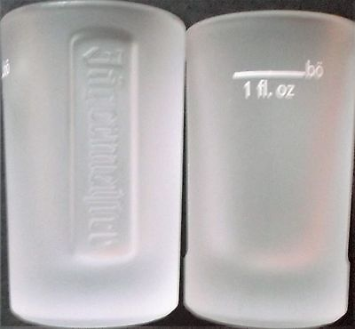"""SET OF TWO (2) NEW JAGERMEISTER """"FROSTED-GLASS"""" SHOT GLASSES w/ 1oz. MARKING"""