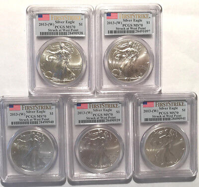 2013 W Silver American Eagle Dollar Coins MS 70 (Set of 5)