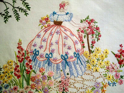 Fabulous Crinoline Lady & Standard Rose ~ Vintage Hand Embroidered Picture Panel