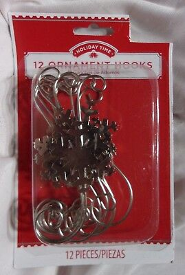 "(12) 3.25"" long silver metal snowflake Christmas Ornament S shaped hanger hooks"