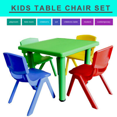 Blue Yellow Colour Kids Toddler Square Activity Table Chairs Australia Owned