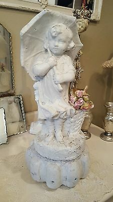 OMG~ Adorable Old Vintage Cement Concrete GARDEN STATUE Girl with Umbrella