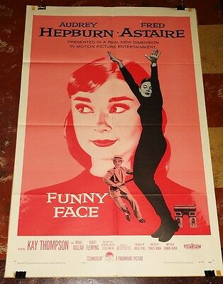 """FUNNY FACE orig Audrey Hepburn 1957 1sheet Fred Astaire beautiful!! 27"""" x 41"""""""