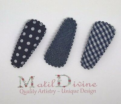 Baby Girls Toddler Hair Clips Bow 3 cm Snap Clips ~ Navy Blue Denim ~ Set of 3