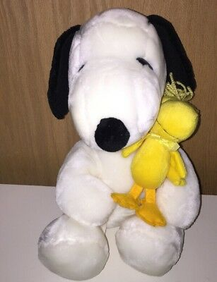 """Snoopy Hugging Woodstock 12"""" Plush Peanuts Gang Collection White Dog/ Bird Toy"""