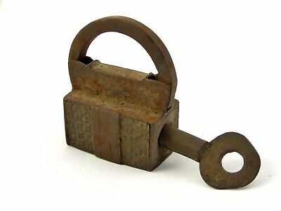 Antique Steel Screw Key Padlock with Key Hand Forged Brass Front ? LAYBY AVAIL