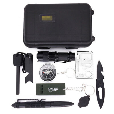 10 in1 SOS Kit Outdoor Emergency Equipment Box For Camping Survival Gear Kit