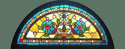 Antique American Arched Stained and Jeweled Transom
