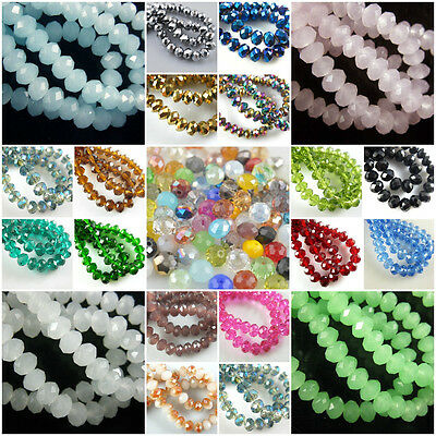 wholesale 50Pcs Crystal Glass Faceted Loose Spacer Rondelle Beads Finding 8mm