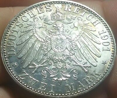 1901-A German Empire 2 Zwei Mark Silver Coin aUnc frankyd360 #ch793