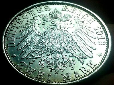 1913-A German Empire Zwei Mark Deutsches Reich Silver Coin aUnc frankyd360 ch794