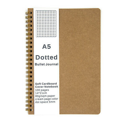 Medium A5 Dotted Grid Spiral Notebook Journal, Cardboard Soft Cover, 100 Pages