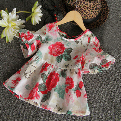 Toddler Kids Baby Girls Outfits Clothes Floral Summer T-shirt Tops Dress Blouse