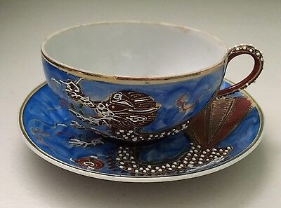 Vintage Dragon Ware Tea Cup & Saucer Hand Painted Japan Bright Blue Gold Trim