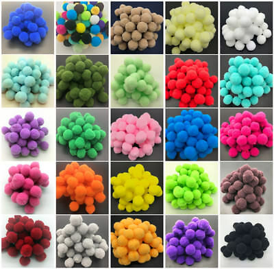 300pcs 15mm Lot Round PomPom Soft Fluffy Balls Rainbow Mixed Color Kid Craft DIY