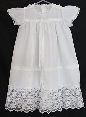 VINTAGE 1970s Bay Girls White Embroidered Lace Christening Dress w Bonnet 00