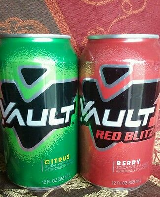 Vault soda Citrus and Red Blitz FULL can