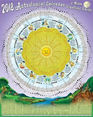 2018 Astrological Moon Calendar &  Planting Guide: Folded Posted in A4 Envelope
