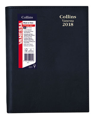 2018 Collins Vanessa A4 Short Week to View Open WTO Spiral Diary 325.V99 BLACK