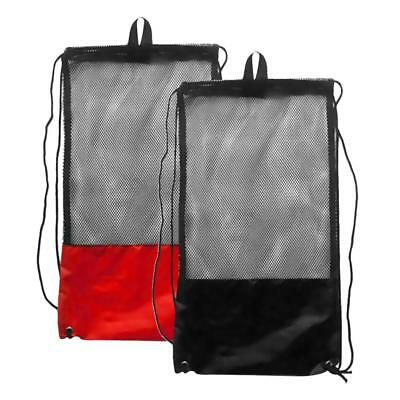 2x Mesh Drawstring Carry Bag for Scuba Diving Swim Fins Goggles Mask Snorkel