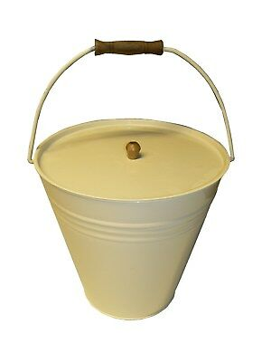 Ivory Large Hot Ash Metal Bucket for Fire Coal Tidy Bin Carrier - FREE Delivery