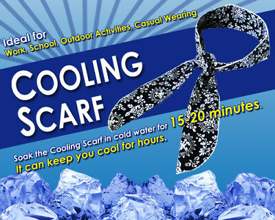 NEW! NECK COOLING SCARF / WRAP - KEEP YOU COOL - BLUE 90cm x 5.5cm