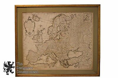 """Philippe Buache Antique 1724 Carte D'Europe Colored Map French Cartography 24"""""""