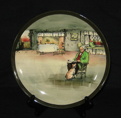 """Royal Doulton Series Ware """"fireside"""" Rack Plate Old Man Reading With Dog"""