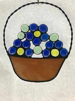 Forget Me Not Basket Of Flowers Stained Glass Suncatcher