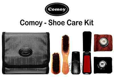 Comoy Shoe Care Kit - Complete with black/brown polish-Brushes-Cloths & Shoehorn