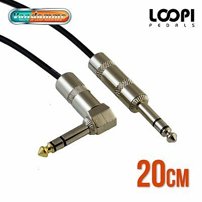 "20cm 1/4"" Stereo Right Angle to Straight Patch TRS Lead - Van Damme Cable"