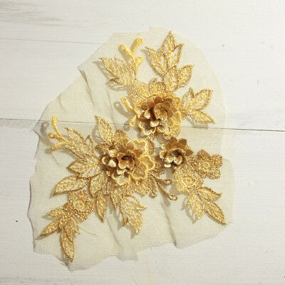 3D Flowers Embroidered Lace Applique For Wedding Bridal Dress Sewing on Patches