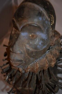 """orig $499- KONGO WITCHDOCTORS NIKISI!! GLASS EYES EARLY 1900S REAL 12"""" PROV."""