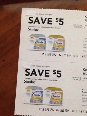(2) Save $5 Off Similac Formula Coupons Exp 1/05/2018 $10 Total Value