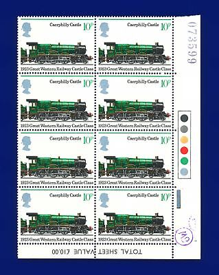 1975 SG986 10p 150th Anniv Railways Traffic Light Block (8) MNH UM aooi